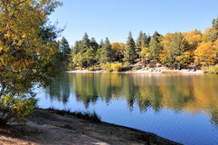 Green Valley Lake. Autumn view of Green Valley Lake in the San Bernardino Mountains in Southern California Stock Photo