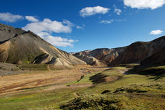 Green valley in Landmannalaugar area, Iceland Stock Photos