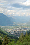Green valley of Martigny in the Swiss Alps. Royalty Free Stock Photo