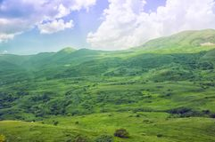 Green Valley. Mountainous terrain, open space landscape. Armenia. Green Valley. Mountainous terrain, open space landscape, and blue sky. Armenia royalty free stock image