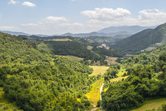 Old village on the hills near Spoleto Stock Image