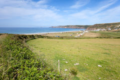 Green valley overlooking the sea in Pembrokeshire Royalty Free Stock Images