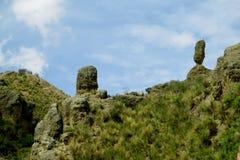 Green valley and rock formations near La Paz in Bolivia. Green valley and rock formations. Valle de las Animas rock formation cliff towers near La Paz in Bolivia stock photo