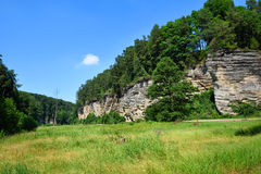 Green valley with sandstone rocks Royalty Free Stock Photo