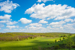 Green valley under the sky with clouds. Spring landscape. White clouds above a green valley and forest royalty free stock photos