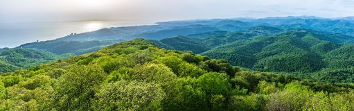 Free Green Valley With The Seashore And The City Sochi In The Sunshine. Layers Of Mountains And The Sea In A Haze In The Light Of The Royalty Free Stock Image - 168501426