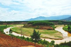 Green valleys with rivers winding. This is a beautiful view on the Ho Chi Minh trail surrounds Truong Son Mountains, Vietnam Stock Photography