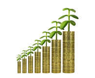 Green Values and Economical Growth. Economical Growth with Green Values. Plants growing from Piles of Coins Stock Photography