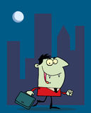 Green vampire. Vampire businessman in a red suit, carrying a briefcase and walking in a city at night stock illustration