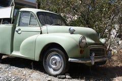 Green van. Old green van parked on the roadside. Larnaca, Cyprus stock photography