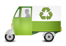 Green van for recycling Stock Photo