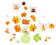 Green vase with bouquet of orange cosmos flowers and winged fairies.  Royalty Free Stock Images