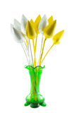 Green vase with golden and silver lotus. Isolation on white Royalty Free Stock Photography