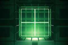 Green vault, digital security. Abstract green vault. Digital security concept. 3D Rendering stock illustration