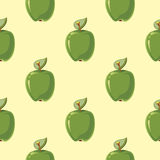 Green vector apples seamless background. Green vector apples seamless pattern background. Fresh natural fruits illustration Royalty Free Stock Photo