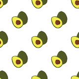 Pattern with avocado. Green vector avocados seamless pattern, healthy food, avocado print, whole and sliced avocado on white background Stock Photos