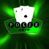 Green vector background, Poker logo Royalty Free Stock Photography
