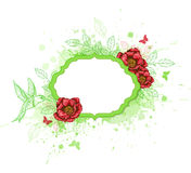 Green vector  banner with red peony Stock Photography