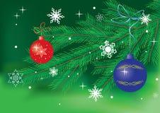 Green vector card with christmas decor Royalty Free Stock Photos