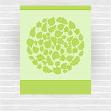 Green vector card made of circle with green leaves Royalty Free Stock Images