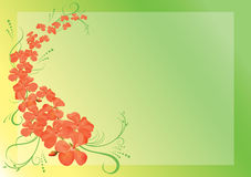 Green vector card with pink flowers - eps10 Royalty Free Stock Photos