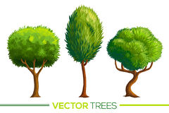 Green vector cartoon style trees set Stock Photo