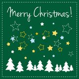 Green vector Christmas card with trees and wishes. Vector card or invitation with green background, white, yellow and blue stars, trees and Merry Christmas Royalty Free Stock Photos