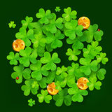 Green vector clovers and golden coins circle Royalty Free Stock Photos