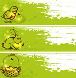 Green vector Easter horizontal banners Royalty Free Stock Images