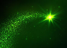 Green vector flying star with dust tail. Green vector flying star with star dust tail Stock Image