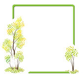 Green vector frame with the autumn birches Royalty Free Stock Photography