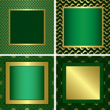 Green vector golden decorative frames Royalty Free Stock Image