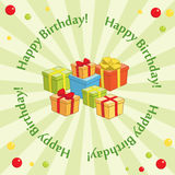 Green vector greeting background with gifts for birthday Royalty Free Stock Photography
