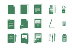 Green vector icons for computer paper Office Royalty Free Stock Image