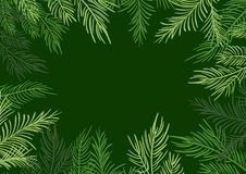 Green Vector illustration Christmas frame background with fir-tree branches vector illustration