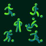 Vector illustration soccer team style neon light soccer football player neon. Green vector illustration soccer team style neon light soccer football player neon Stock Images