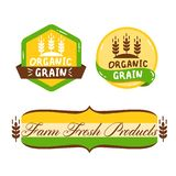 Green vector label set with text organic grain stock image