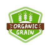 Green vector label with text organic grain stock image