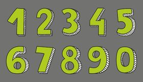 Green vector numbers isolated on grey background. Hand drawn green vector numbers isolated on grey background Vector Illustration