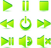Green vector plastic navigation symbols set Stock Photography
