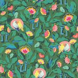 Green pattern with flower and bird. royalty free illustration