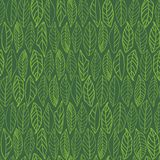 Green pattern with line art leaves. royalty free illustration