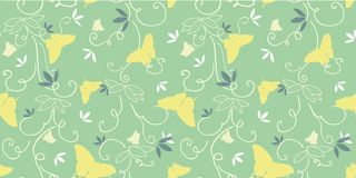 Green pattern with yellow butterfly. stock illustration