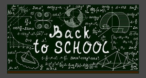 Green vector school blackboard with chalk physical and mathematical drawings, formulas, equations and handwritten text. 'Back to school royalty free illustration