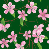 Green vector seamless pattern with peach flowers Stock Photo