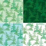 Green vector seamless patterns with fir trees  Stock Photo