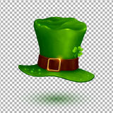 Green vector soft leprechaun hat in cartoon style  on transparency grid Royalty Free Stock Photos