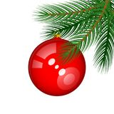 Green Vector Spruce Branch with a Shiny Red Christmas Tree. Ball as an Element of New Year`s Decor. Green Fir Twig Isolated on White Background Stock Photos