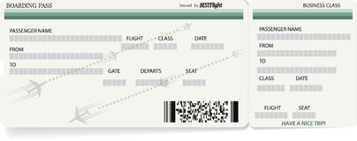 Green vector template of boarding pass ticket. Light green vector template of boarding pass ticket. Concept of trip, journey or travel stock illustration