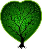 Green vector tree with heart royalty free illustration